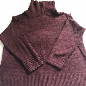 Loose Fitting Cowl Neck Drapey Wine Sweater